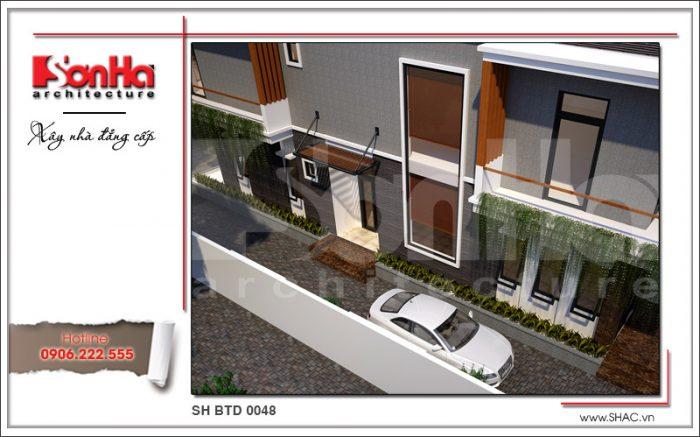 Kiến trúc hiện đại đẹp của biệt thự 2 tầng tiện nghi sh btd 0048