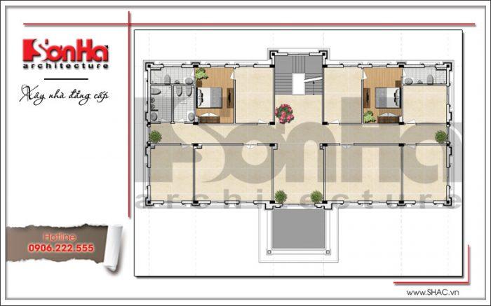 Mặt bằng công năng tầng 2 văn phòng kiến trúc cổ điển 4 tầng tại Cẩm Phả - Quảng Ninh sh vp 0026