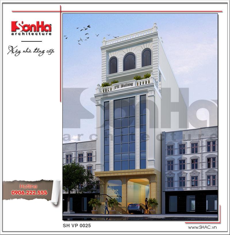 Mẫu thiết kế tòa nhà văn phòng đẹp 7 tầng thiết kế tinh tế và đẳng cấp ưu tiên sự tiện dụng