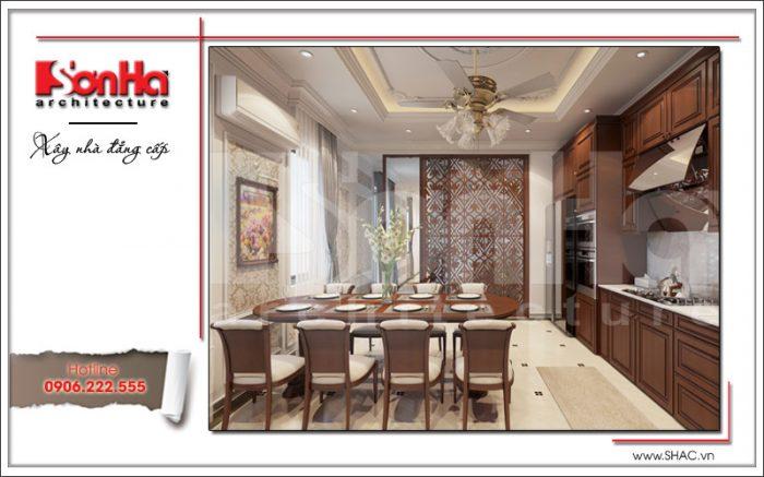 Phương án thiết kế nội thất phòng bếp của nhà phố kiến trúc cổ điển 5 tầng tại Hải Phòng