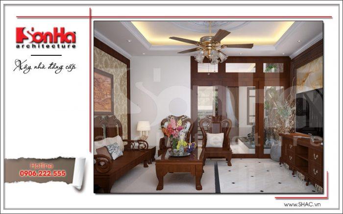 Mẫu thiết kế nội thất phòng khách đẹp mắt của nhà phố kiến trúc cổ điển tại Hải Phòng của SHAC