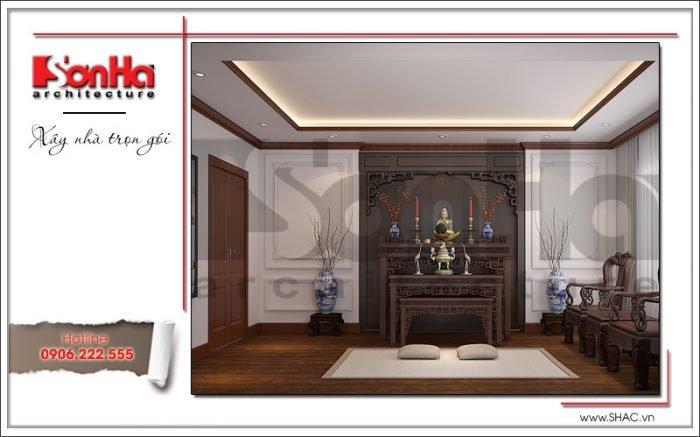 Thiết kế phòng thờ nhà ống hiện đại tại Quảng Ninh sh nod 0159