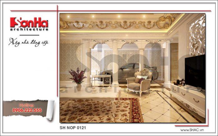 Thiết kế nội thất phòng khách cổ điển sang trọng nhà phố kiến trúc Pháp sh nop 0121