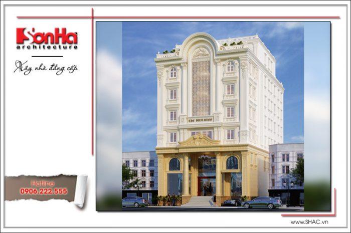 Góc view cho thấy sự kết hợp hài hòa các chi tiết và màu sắc khách sạn 3 sao kiểu cổ điển Pháp