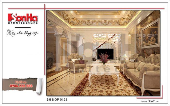 Mẫu thiết kế nội thất phòng khách cổ điển sang trọng nhà phố kiến trúc Pháp sh nop 0121