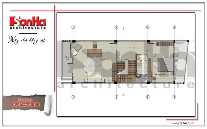 bản vẽ mặt bằng tầng 2 của nhà phố 3 tầng tại hưng yên