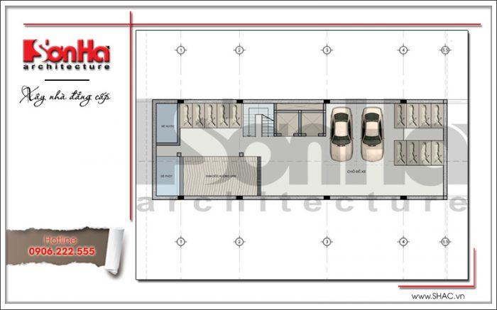 Thiết kế mặt bằng tầng 1 tòa nhà văn phòng đẹph 7 tầng tại Sài Gòn sh vp 0025