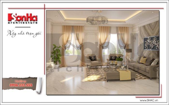 Thiết kế phòng khách nhà ống hiện đại tại Quảng Ninh sh nod 0159