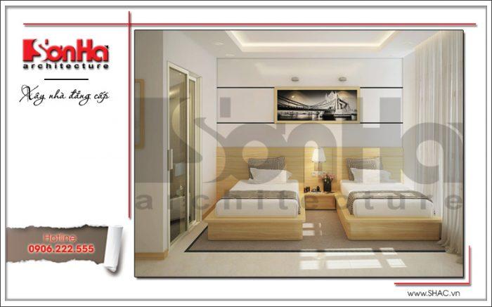 Thiết kế nội thất phòng ngủ VIP 2 giường khách sạn mini 4 tầng kiến trúc cổ điển đẹp sh ks 0031