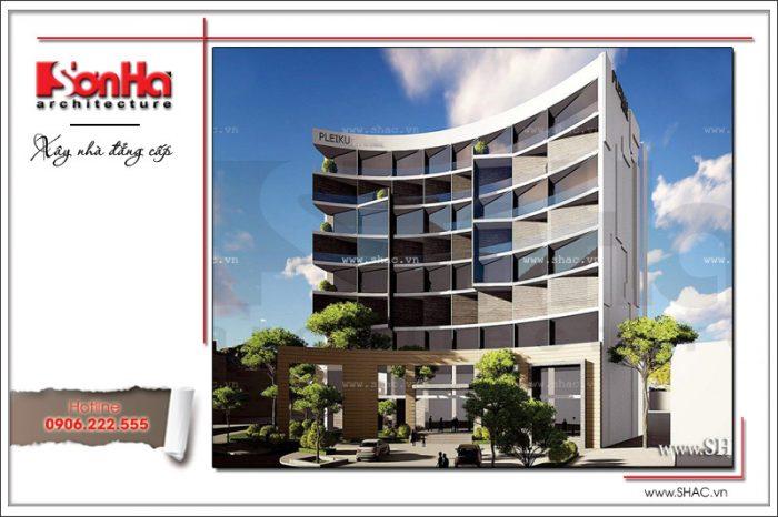 Kiến trúc mặt tiền đẹp của mẫu thiết kế văn phòng đẳng cấp nhất Việt Nam thương hiệu SHAC