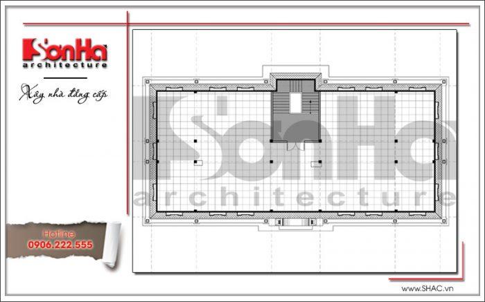 Mặt bằng công năng tầng 4 văn phòng kiến trúc cổ điển 4 tầng tại Cẩm Phả - Quảng Ninh sh vp 0026