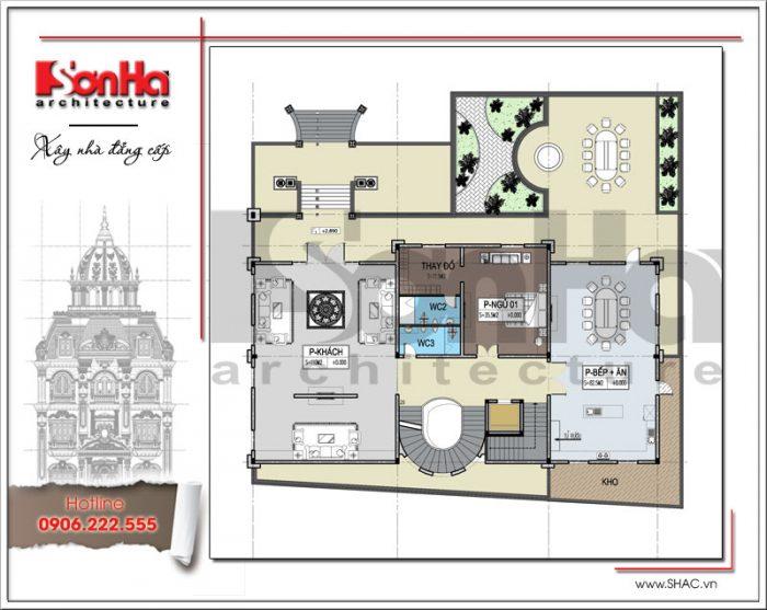 Bản vẽ mặt bằng công năng tầng 1 của biệt thự kiến trúc cổ điển 6 tầng lâu đài thương hiệu SHAC