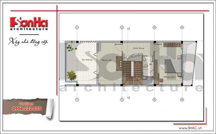 bản vẽ mặt bằng tầng 3 nhà phố mặt tiền 6m