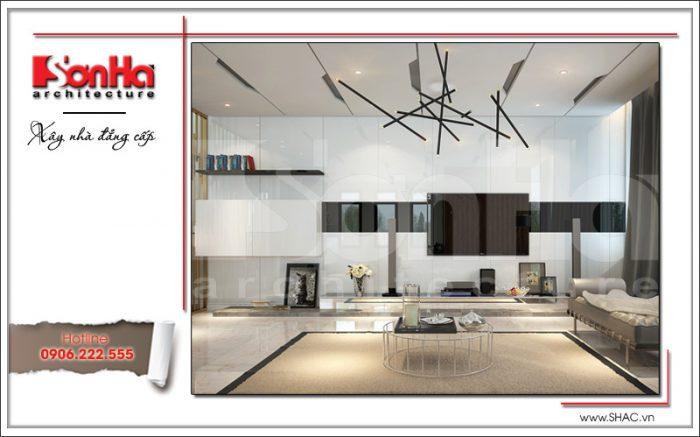 Thiết kế nội thất phòng khách mang phong cách hiện đại với gam màu cá tính
