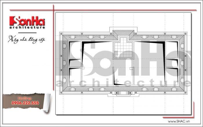 Mặt bằng công năng tầng mái văn phòng kiến trúc cổ điển 4 tầng tại Cẩm Phả - Quảng Ninh sh vp 0026