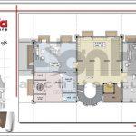 Mặt bằng tầng 2 biệt thự cổ điển Pháp tại Vũng Tàu sh btld 0024