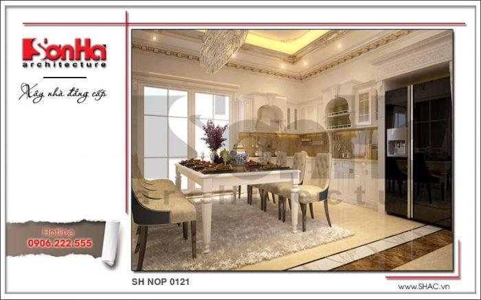 Mẫu thiết kế nội thất phòng bếp cổ điển sang trọng nhà phố kiến trúc Pháp sh nop 0121