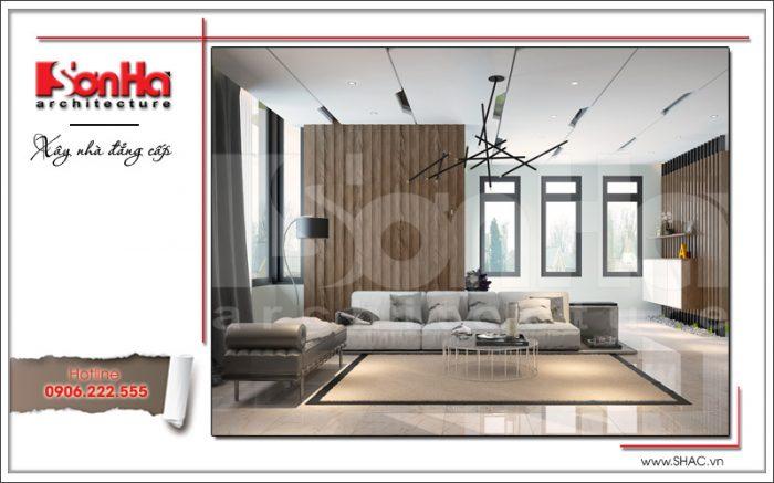 Mẫu thiết kế nội thất phòng khách phong cách hiện đại đơn giản mà lịch thiệp tại biệt thự hiện đại 2 tầng