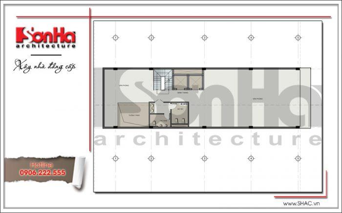 Thiết kế mặt bằng tầng 3 tòa nhà văn phòng đẹph 7 tầng tại Sài Gòn sh vp 0025
