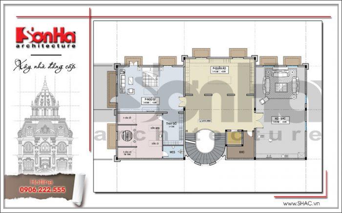 Phương án bố trí mặt bằng công năng tầng 3 của biệt thự kiến trúc cổ điển Pháp thương hiệu SHAC