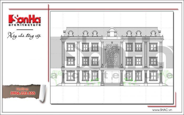 Bản vẽ thể hiện mặt đứng của tòa nhà văn phòng kiến trúc cổ điển mới nhất tại Quảng Ninh