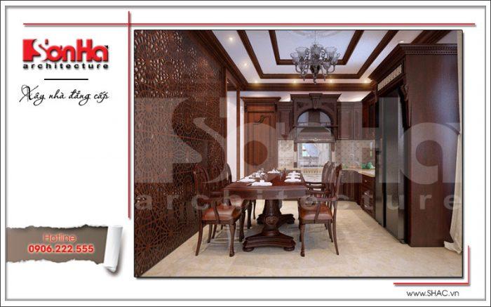 Thiết kế nội thất phòng bếp đẹp nhà phố cổ điển sh nop 0125