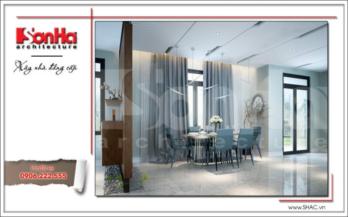Phương án thiết kế nội thất phòng bếp ăn biệt thự 2 tầng phong cách hiện đại sang trọng