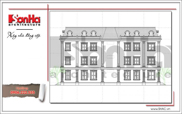 Còn đây là bản vẽ mặt đứng của tòa nhà văn phòng phong cách cổ điển mới nhất tại Quảng Ninh