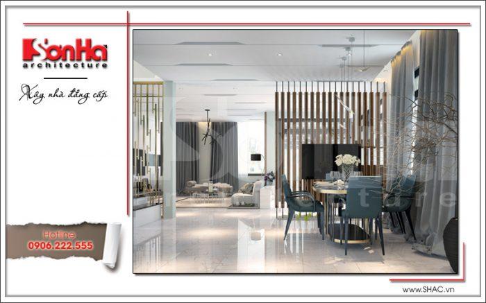 Mẫu thiết kế nội thất phòng bếp ăn phong cách hiện đại đảm bảo các nguyên tắc điển hình