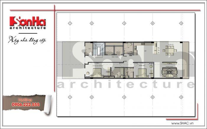 Thiết kế mặt bằng tầng 5 tòa nhà văn phòng đẹph 7 tầng tại Sài Gòn sh vp 0025