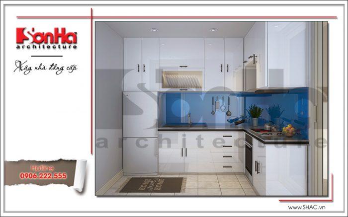 Thiết kế nội thất phòng bếp khách sạn mini 4 tầng kiến trúc cổ điển sh ks 0031