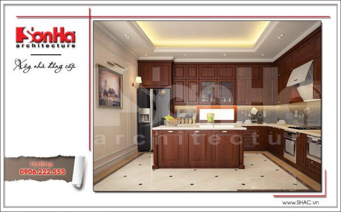Thiết kế nội thất phòng bếp ăn nhà phố 6 tầng tại Quảng Ninh nổi bật với gam màu tinh tế hợp thời