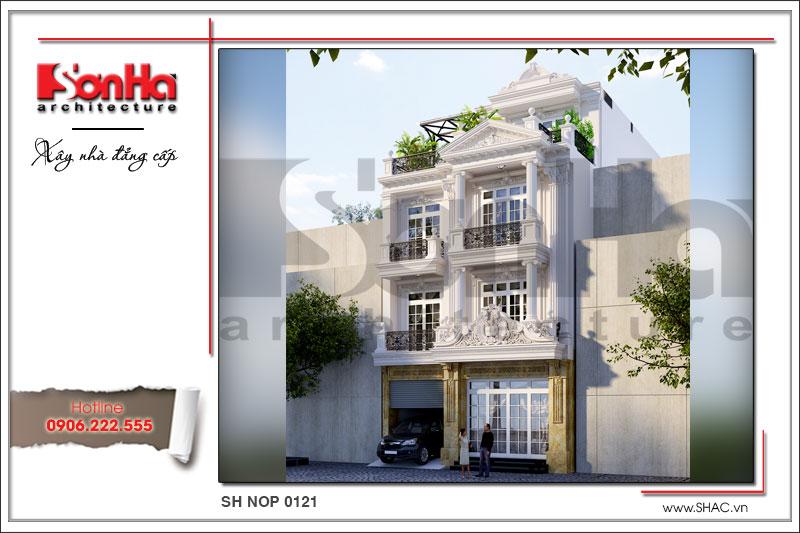 Thiết kế nhà phố cổ điển Pháp 4 tầng đẹp tại Sài Gòn sh nop 0121