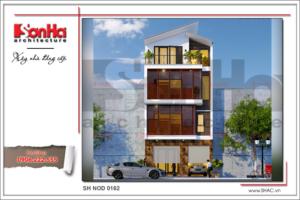 BÌA Thiết kế nhà phố hiện đại 4 tầng tại Hà Nội sh nod 0162