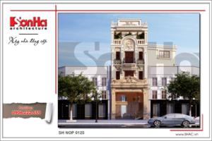 BÌA Thiết kế kiến trúc nhà phố cổ điển 4 tầng tại Nam Định sh nop 0125