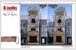 Thiết kế kiến trúc và nội thất nhà phố cổ điển Pháp đẹp đẳng cấp sh nop 0120