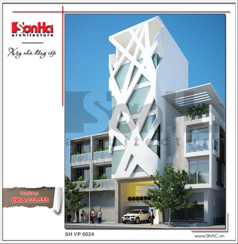 Kiến trúc mặt tiền đẹp của tòa nhà văn phong phong cách kiến trúc hiện đại sang trọng tinh tế