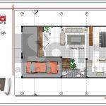 Mặt bằng tầng 1 nhà phố 4 tầng hiện đại tại Hà Nội sh nod 0162