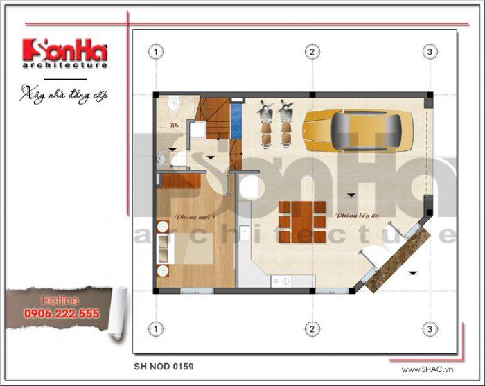 Mặt bằng tầng 1 bản thiết kế nhà phố hiện đại đẹp sh nod 0159