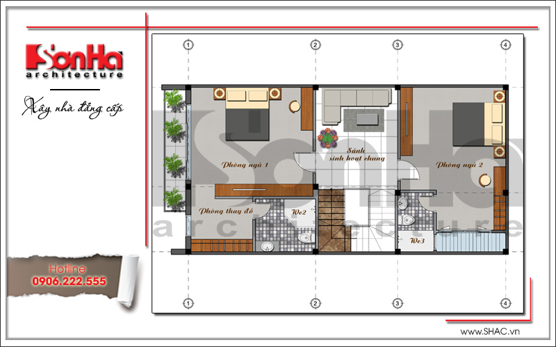 Khám phá mẫu nhà phố hiện đại 4 tầng mặt tiền độc đáo tại Hà Nội – SH NOD 0162 4