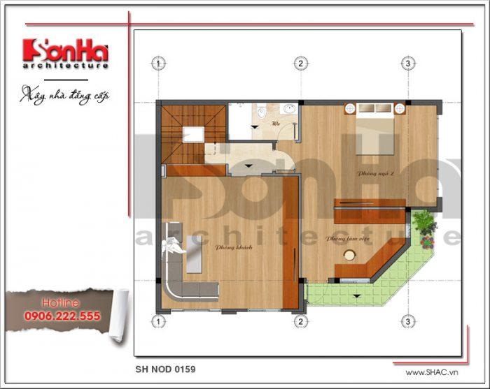Mặt bằng tầng 2 bản thiết kế nhà phố hiện đại đẹp sh nod 0159