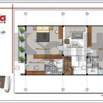 Mặt bằng tầng 3 nhà phố 4 tầng hiện đại tại Hà Nội sh nod 0162