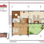 Mặt bằng tầng 3 bản thiết kế nhà phố hiện đại đẹp sh nod 0159