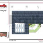 Mặt bằng tầng mái bản thiết kế nhà phố hiện đại đẹp sh nod 0159