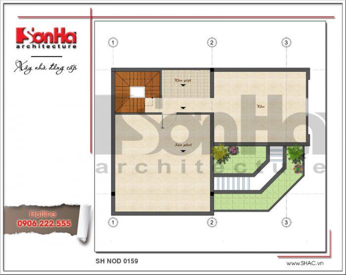 Mặt bằng tầng tum bản thiết kế nhà phố hiện đại đẹp sh nod 0159
