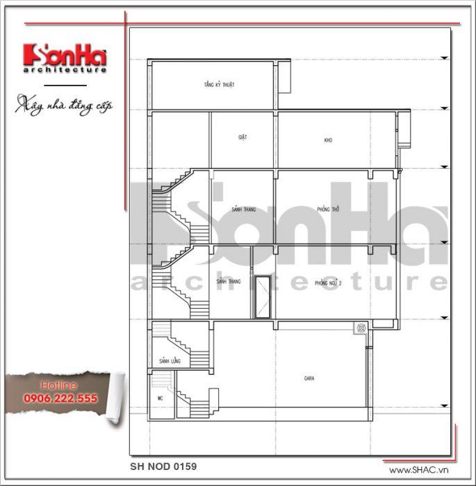 Mặt đứng trục 1-1 bản thiết kế nhà phố hiện đại đẹp sh nod 0159
