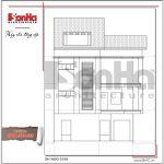 Mặt đứng trục 1-3 bản thiết kế nhà phố hiện đại đẹp sh nod 0159