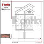 Mặt đứng trục A-B bản thiết kế nhà phố hiện đại đẹp sh nod 0159