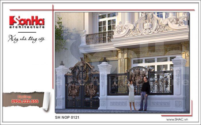 Mặt tiền kiểu Pháp đẹp của nhà phố 4 tầng cổ điển sh nop 0121