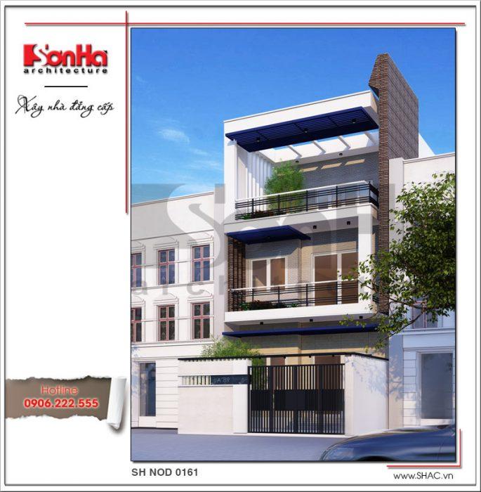 kiến trúc nhà phố mặt tiền 6m đẹp 3 tầng tại hưng yên